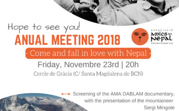 On Friday, November 23, we will celebrate the Amics del Nepal annual meeting