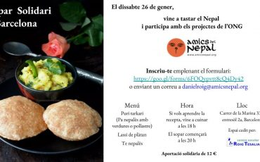 Aquest dissabte, sopar solidari a Barcelona
